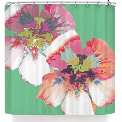 Love Midge Graphic Flower Nasturtium Floral Shower Curtain Color: Green/Magenta