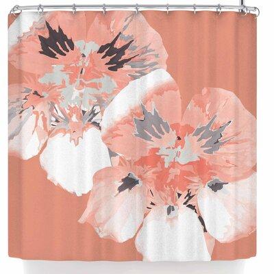 Love Midge Graphic Flower Nasturtium Floral Shower Curtain Color: Pink/Floral