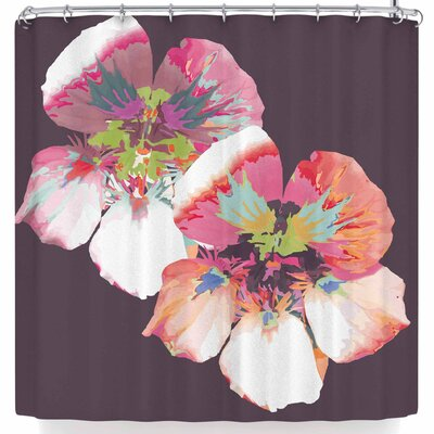 Love Midge Graphic Flower Nasturtium Floral Shower Curtain Color: Lavender/Floral