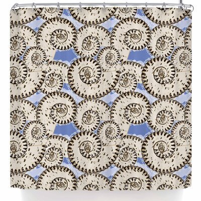 Mydeas Nautical Spiral Seashell Vector Shower Curtain