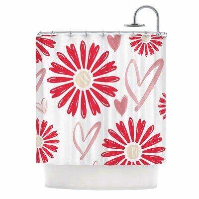 Alison Coxon Hearts and Flowers Shower Curtain