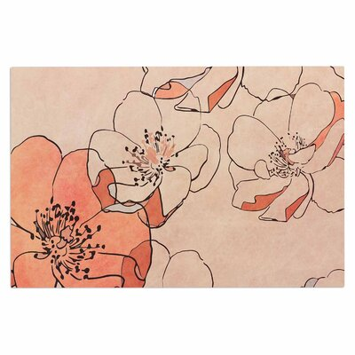 Alison Coxon Painted Wild Roses Floral Doormat Color: Coral