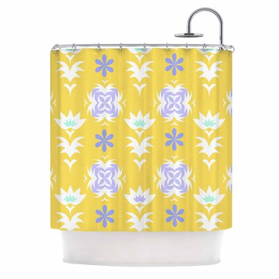 Alison Coxon Edwardian Tile Shower Curtain Color: Yellow/White