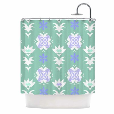 Alison Coxon Edwardian Tile Shower Curtain Color: Blue/White
