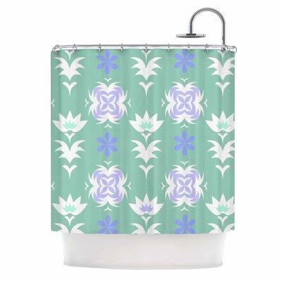 Alison Coxon Edwardian Tile Shower Curtain Color: Blue/White