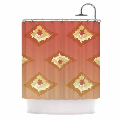 Alison Coxon Ombre Ikat Shower Curtain Color: Orange/Yellow