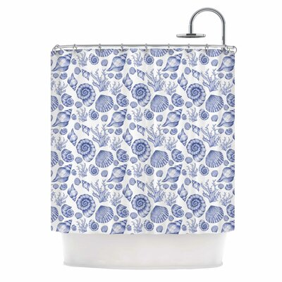 Alisa Drukman Seashells Coastal Abstract Shower Curtain