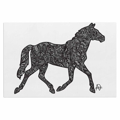 Adriana De Leon Horsie Horse Illustration Doormat