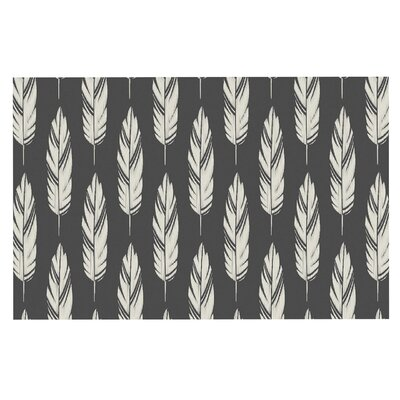Amanda Lane Feathers Doormat Color: Black/Cream