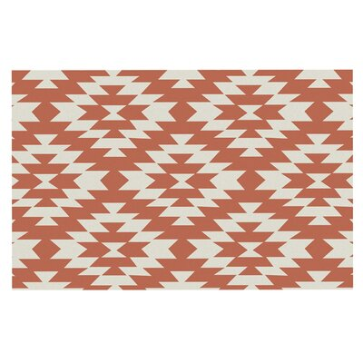 Amanda Lane Navajo Tribal Geometric Doormat Color: Coral/Red