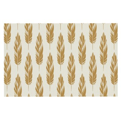 Amanda Lane Feathers Doormat Color: Yellow/Cream