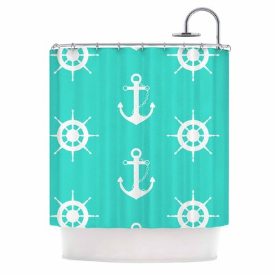 Afe Images Anchor and Helm Wheel Illustration Shower Curtain