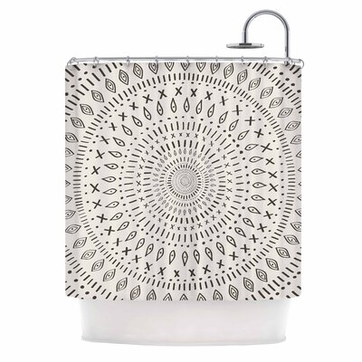 Amanda Lane Bohemian Tribal Mandala Digital Shower Curtain Color: Beige/Black