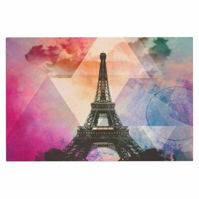 AlyZen Moonshadow Eiffel Tower Travel Doormat Color: Pink