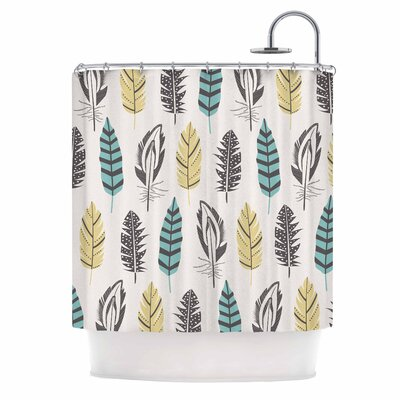 Amanda Lane Teal and Gold Feathers Digital Shower Curtain