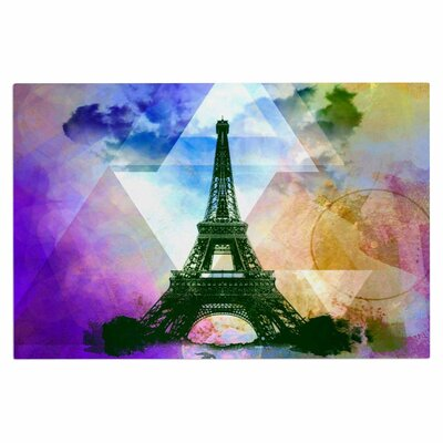 AlyZen Moonshadow Eiffel Tower Travel Doormat Color: Yellow