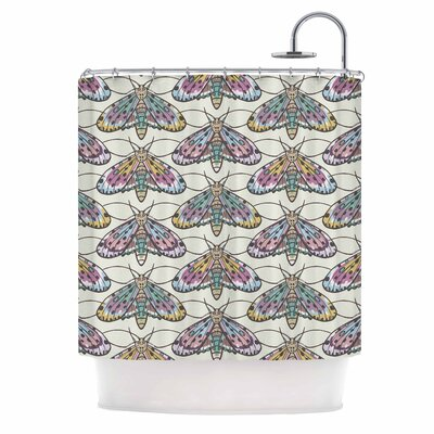 Amanda Lane Boho Gypsy Moth Digital Illustration Shower Curtain