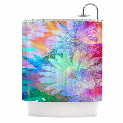 AlyZen Moonshadow Floral Meld Abstract Digital Shower Curtain