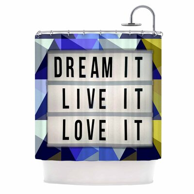 AlyZen Moonshadow Dream it Typography Digital Shower Curtain