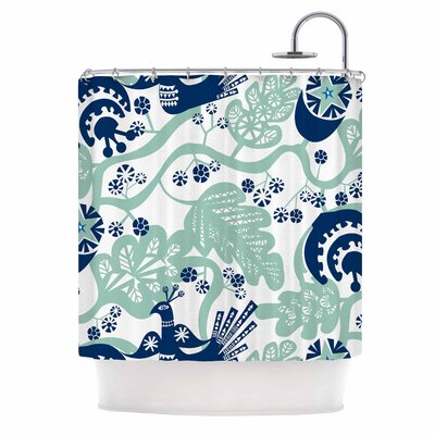 Agnes Schugardt Folk Birds Vector Shower Curtain