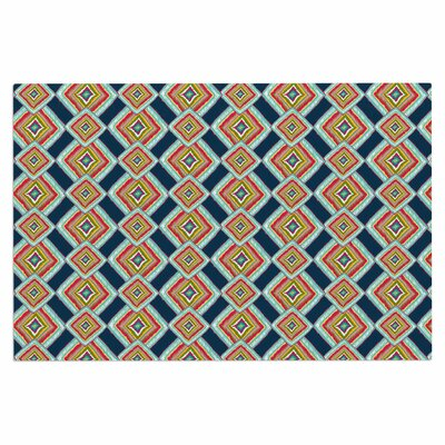 Amy Reber Rainbow Ikat Abstract Doormat