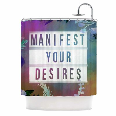 AlyZen Moonshadow Manifest Your Desires 1 Typography Shower Curtain
