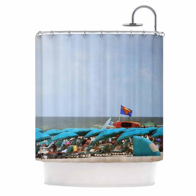Angie Turner Superman at the Beach Shower Curtain