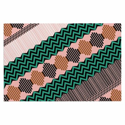 Akwaflorell Knitted 2 Doormat Color: Green/Coral