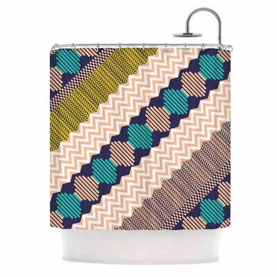 Akwaflorell Knitted 3 Shower Curtain Color: Teal/Coral