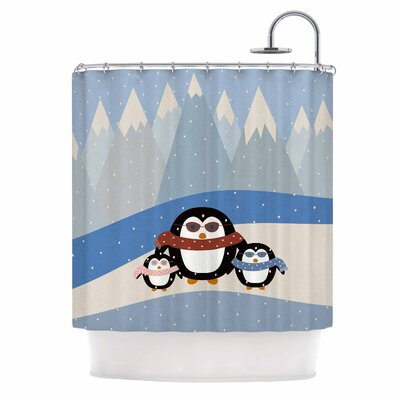 Cristina Bianco Cute Penguins Illustration Shower Curtain