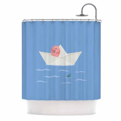 Cristina Bianco Cat and Paper Boat Shower Curtain