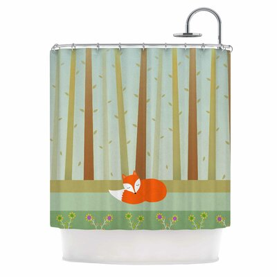 Cristina Bianco Sleeping Fox Illustration Shower Curtain