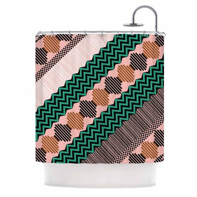 Akwaflorell Knitted 3 Shower Curtain Color: Green/Coral