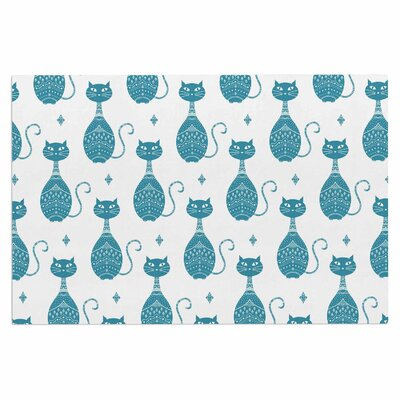 Cristina Bianco Cat Animal Doormat Color: Blue