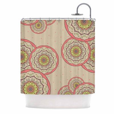 Cristina Bianco Mandala Illustration Shower Curtain Color: Pink/Green