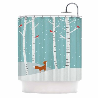 Cristina Bianco Fox Cardinals Winter Kid Shower Curtain