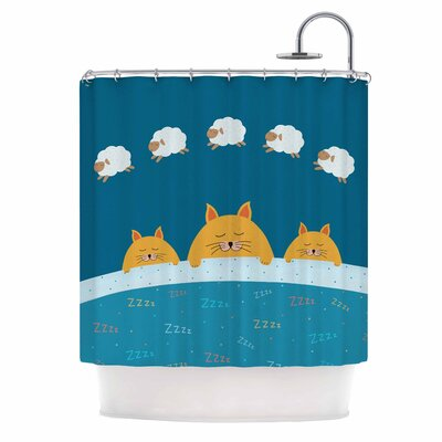 Cristina Bianco Sleeping Cats Zzzz Animal Shower Curtain