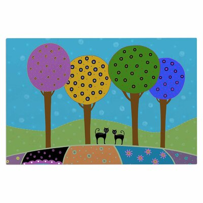 Cristina Bianco Cats Colorful Landscape Illustration Doormat