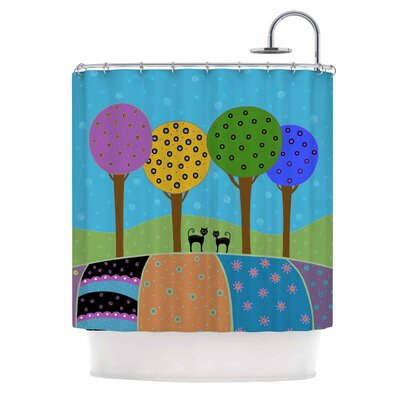 Cristina Bianco Cats and Colorful Landscape Illustration Shower Curtain