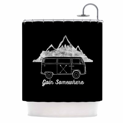 Draper Go in Somewhere B Typography Shower Curtain Color: Black