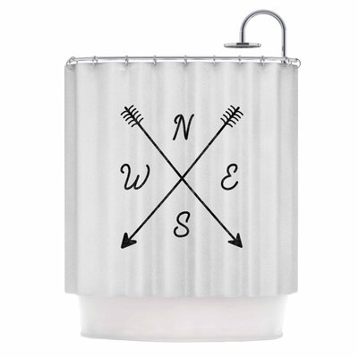 Draper Cardinal Direction B Vintage Shower Curtain Color: White