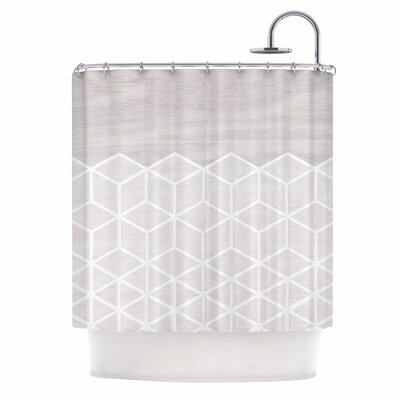 Draper Geo Woodgrain Shower Curtain