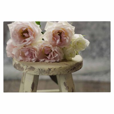 Cristina Mitchell Roses on Stool Floral Photography Doormat