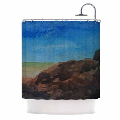 Cyndi Steen Beach Rocks Coastal Shower Curtain