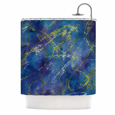 Cyndi Steen Deep Blue Abstract Shower Curtain