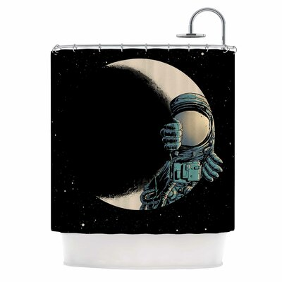 Digital Carbine Crescent Moon Illustration Shower Curtain