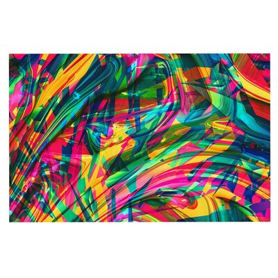 Danny Ivan Wild Abstract Rainbow Illustration Doormat