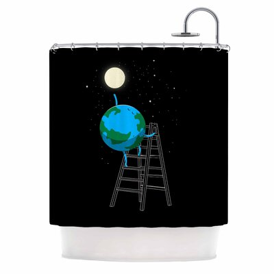 Digital Carbine Reach the Moon Illustration Shower Curtain