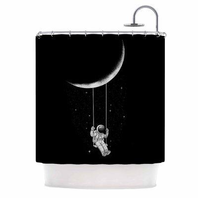 Digital Carbine Moon Swing Illustration Shower Curtain
