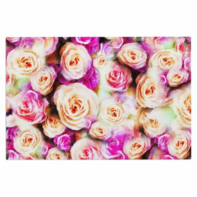 Dawid Roc Sweet Pastel Rose Flowers Floral Doormat
